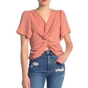 ASTR • Twist Front Short Sleeve Top in Rust Pink